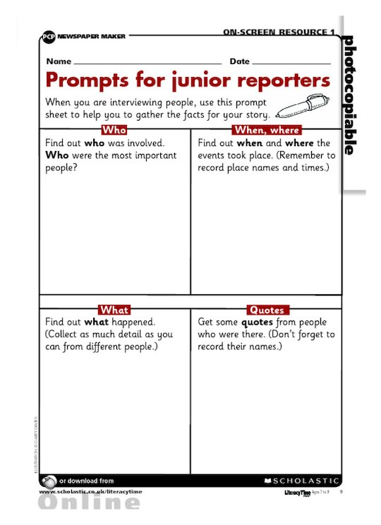 Prompts for junior reporters