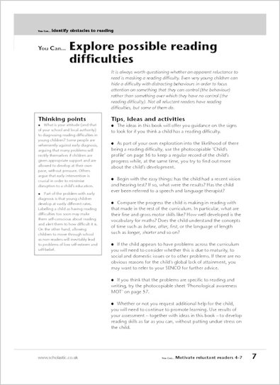 Explore possible reading difficulties