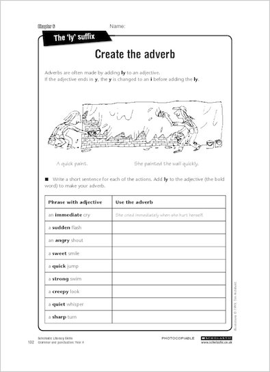 Create the adverb from Grammar & Punctuation Year 4