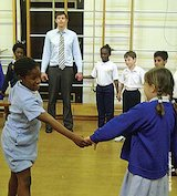 Children play the 'connectives' game