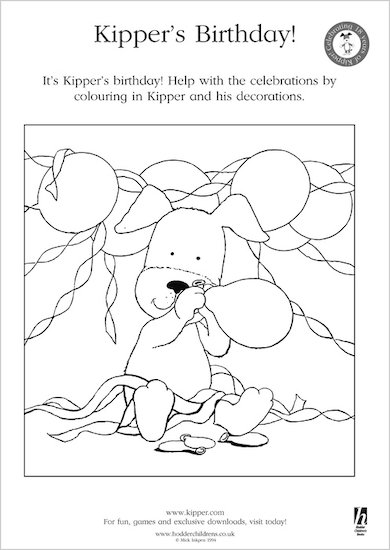 Kipper's Birthday Colouring