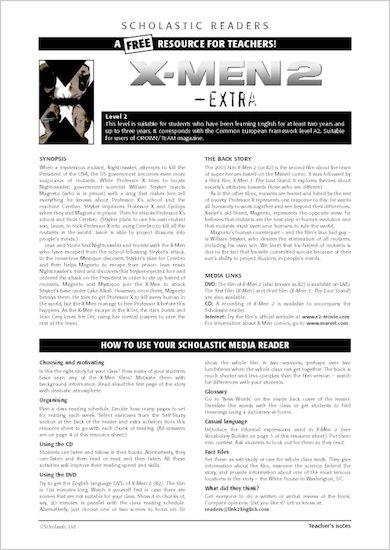 ELT Reader: X-Men 2 Resource Sheets & Answers