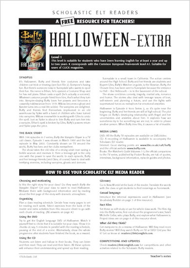ELT Reader: Buffy the Vampire Slayer: Hallowe'en Resource Sheets & Answers