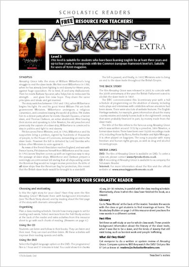 ELT Reader: Amazing Grace Resource Sheets & Answers