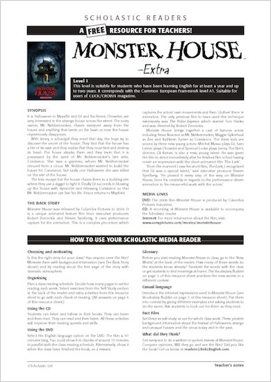 ELT Reader: Monster House Resource Sheets & Answers