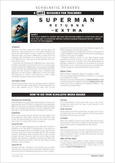 ELT Reader: Superman Returns Resource Sheets & Answers