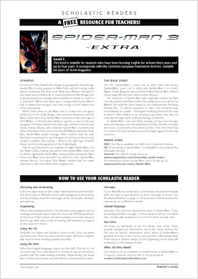 ELT Reader: Spiderman 3 Resource Sheets & Answers