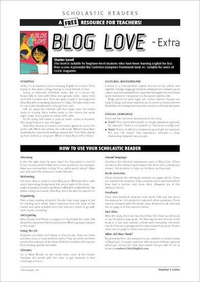 ELT Reader: Blog Love Resource Sheets & Answers