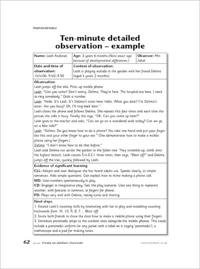ten minute time sample observation Example: during a 60 minute observation, david had 3 tantrums that lasted 3 min, 7 min, and then 5 min with a total duration of 15 minutes % of observation with behavior 15 minutes ÷ 60 minutes = 25 x 100 = tantrums occurred.