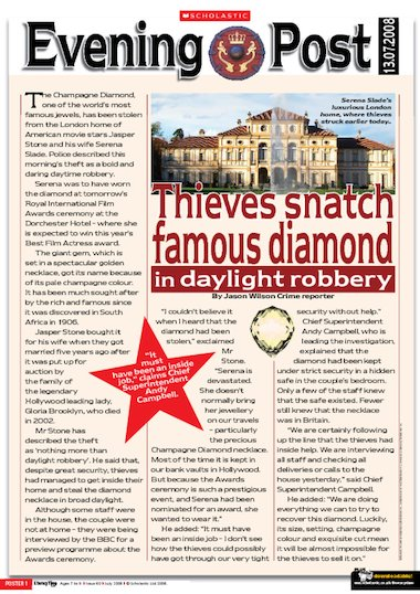 The Diamond Theft  Newspaper Report  Primary Ks Teaching Resource