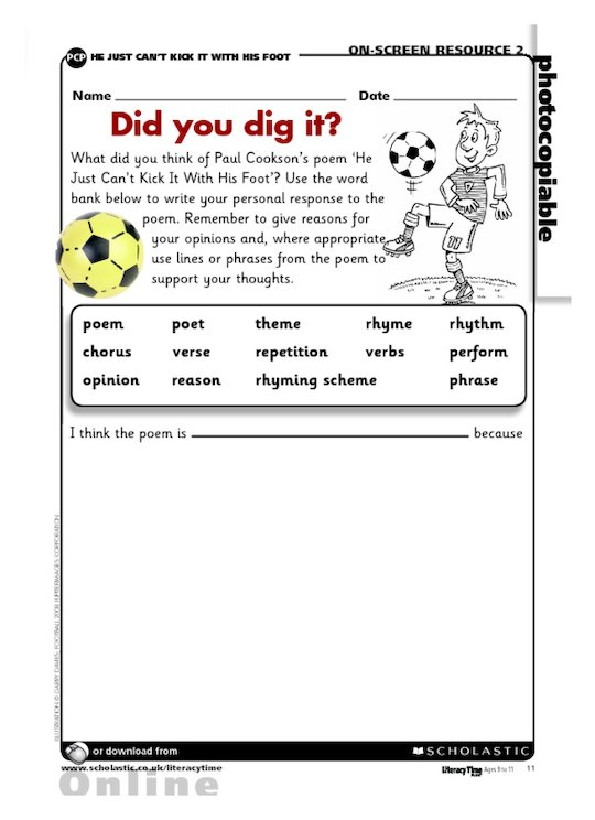 'He Just Can't Kick It With His Foot' poem - Did you dig it?