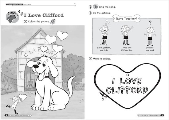 Timesaver Clifford Songs and Chants Sample Page - I love Clifford