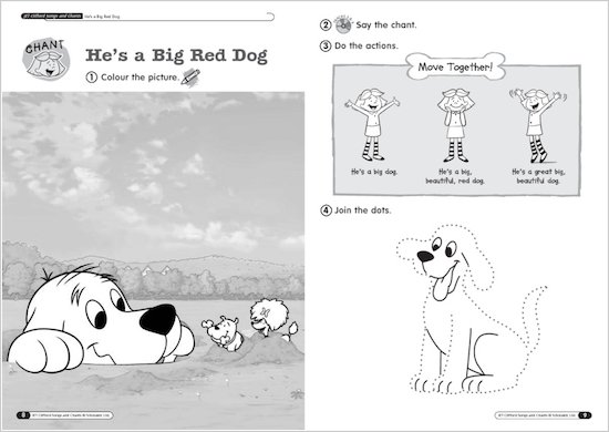 Timesaver Clifford Songs and Chants Sample Page - He's a big, red dog