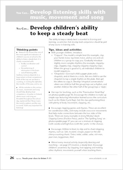 Develop children's ability to keep a steady beat