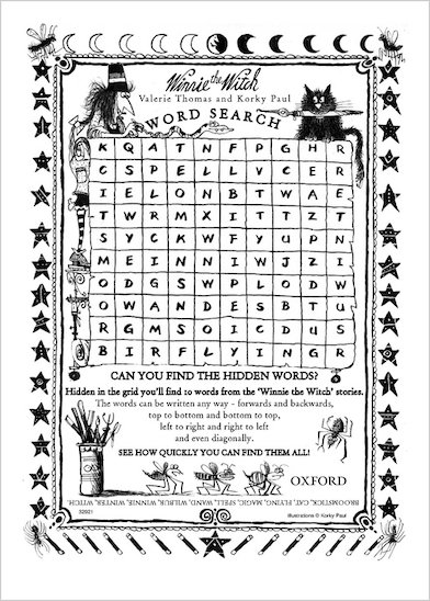 Winnie the Witch Wordsearch