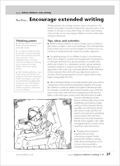 Encourage extended writing