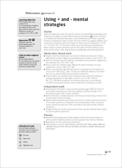 Using + and – mental strategies