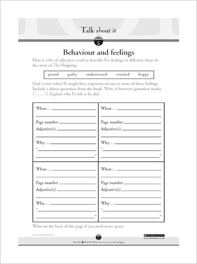 Behaviour and feelings