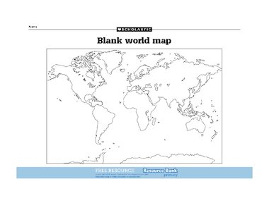 Blank World Map FREE Primary KS Teaching Resource Scholastic - Unlabelled map