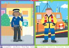 People who help us – police officer and lifeboat worker – poster