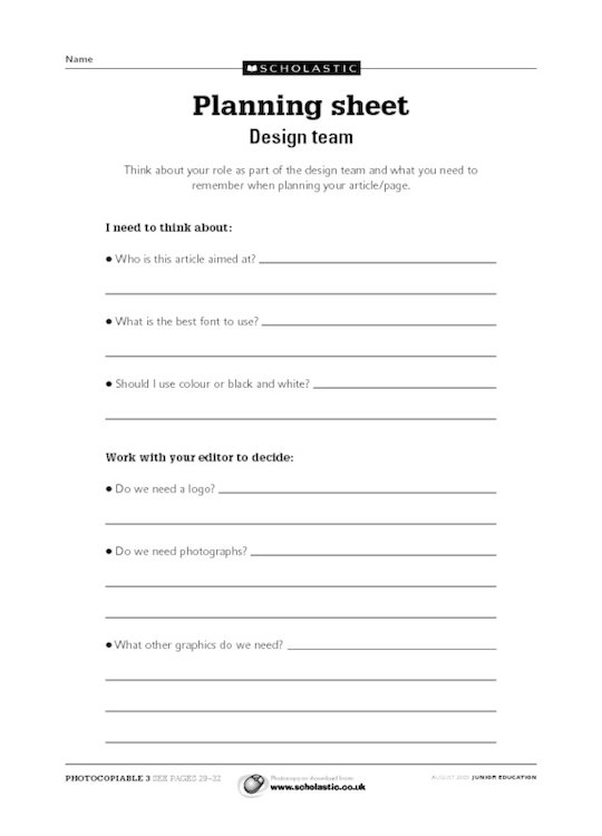 Read All About It Planning Sheet Design Team Scholastic Shop