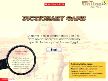 Egyptian dictionary quiz game