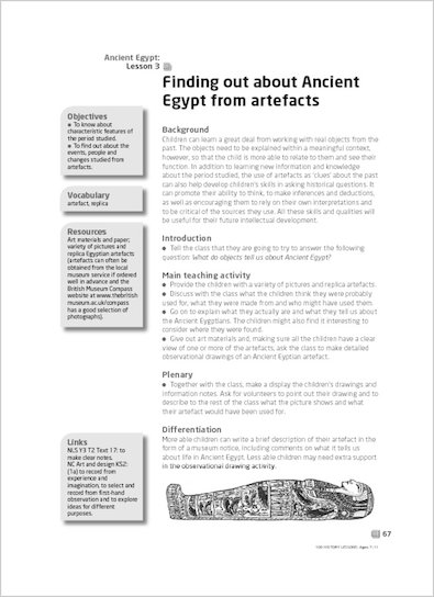 Finding out about Ancient Egypt from artefacts