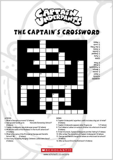 Captain Underpants Crossword