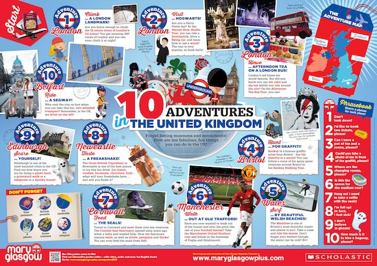 Poster: 10 adventures in the UK