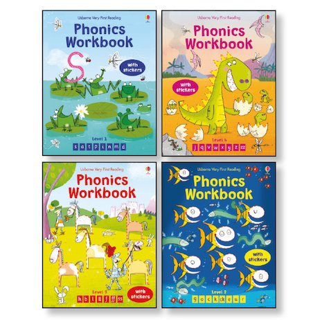 Usborne Phonics Workbooks Pack x 4