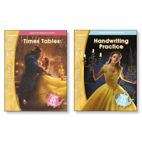 Disney Beauty and the Beast Workbooks Ages 6-7 Pair