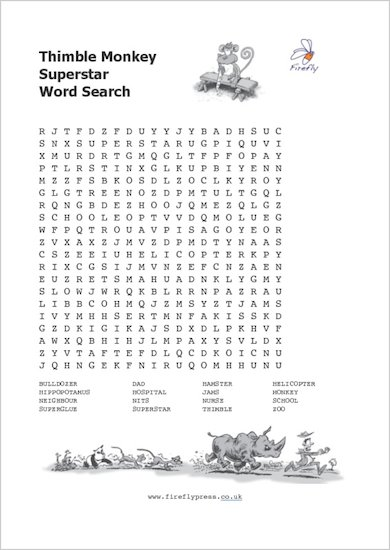 Thimble Monkey Superstar wordsearch