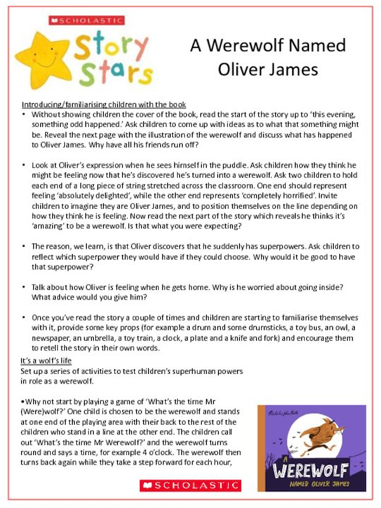 Story Stars Resource - A werewolf named Oliver James