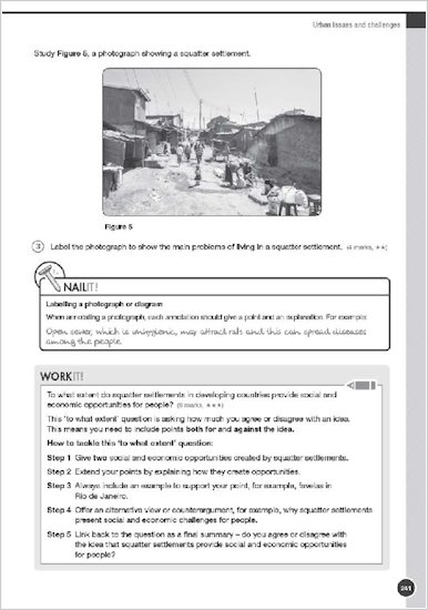 GCSE Grades 9-1: Geography AQA Revision and Exam Practice Book: Work it and Nail it examples