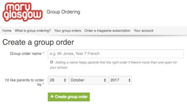 Creating a group order on the Mary Glasgow group ordering site