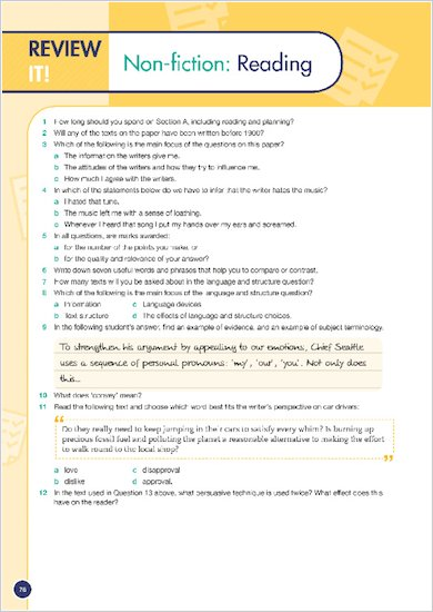 GCSE Grades 9-1: English Language and Literature Revision Guide for All Boards example review of topic