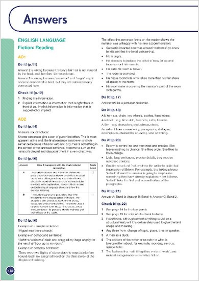 GCSE Grades 9-1: English Language and Literature Revision Guide for All Boards answers