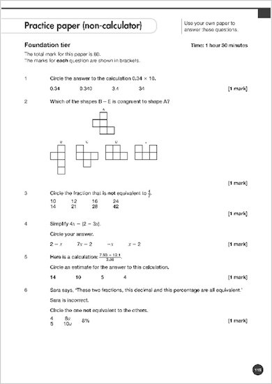 GCSE Grades 9-1: Maths Foundation Exam Practice Book for AQA question paper