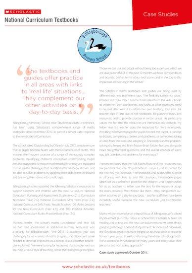 Case Study - Billingborough Primary School - Scholastic Textbooks