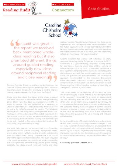 Case Study - Caroline Chisholm School - Scholastic Reading Audit and Connnectors