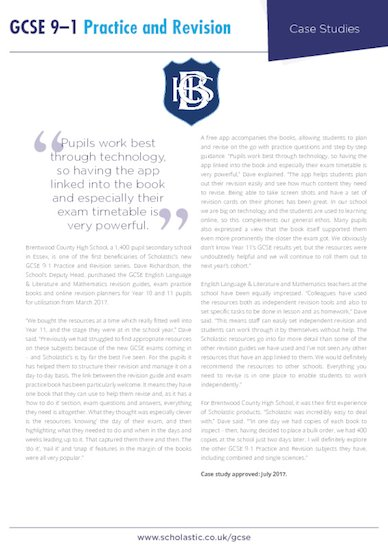 case study - brentwood county high school - scholastic gcse 9-1 practice and revision.pdf
