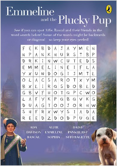 Emmeline and the Plucky Pup wordsearch