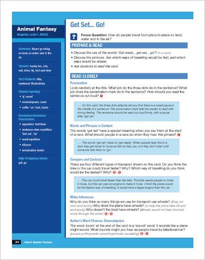 Short Reads Fiction Box 1 sample Teacher's Guide