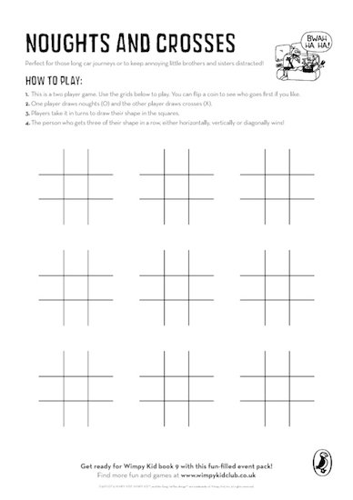 Wimpy Kid Noughts and Crosses Activity Download