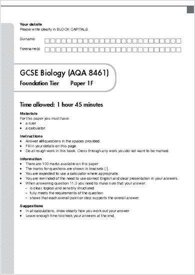 GCSE Grades 9-1 Practice Exams: GCSE Grades 9-1: Foundation Biology AQA Practice Exams sample page