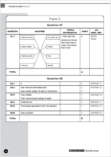 GCSE Grades 9-1 Practice Exams: GCSE Grades 9-1: Foundation Chemistry AQA Practice Exams mark scheme