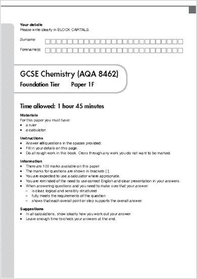 GCSE Grades 9-1 Practice Exams: GCSE Grades 9-1: Foundation Chemistry AQA Practice Exams sample page