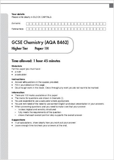 GCSE Grades 9-1 Practice Exams: GCSE Grades 9-1: Higher Chemistry AQA Practice Exams sample page