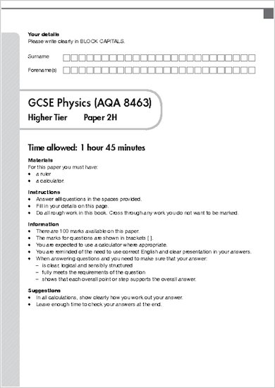 GCSE Grades 9-1 Practice Exams: GCSE Grades 9-1: Higher Physics AQA Practice Exams sample page