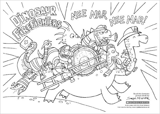 Dinosaur Firefighters Colouring Activity